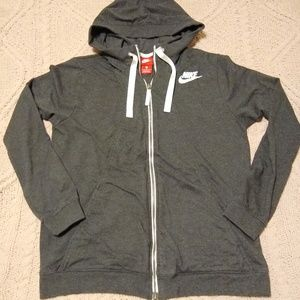 Nike Zip Up Hoodie Dark Gray Women's - Large